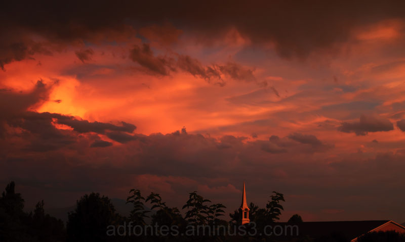 Pink Clouds Sunset over Church in Provo Utah
