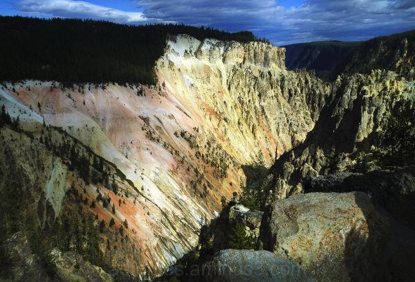 Beautiful light hitting Yellowstone Canyon walls
