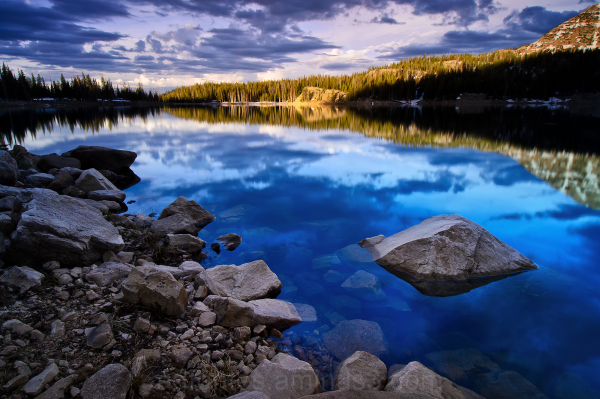 Sunrise reflection on Wall Lake, Uinta Mountains