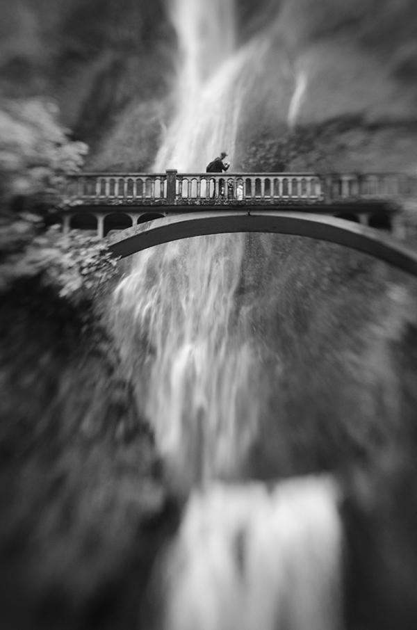 Photographer on Benson Bridge at Multnomah Falls