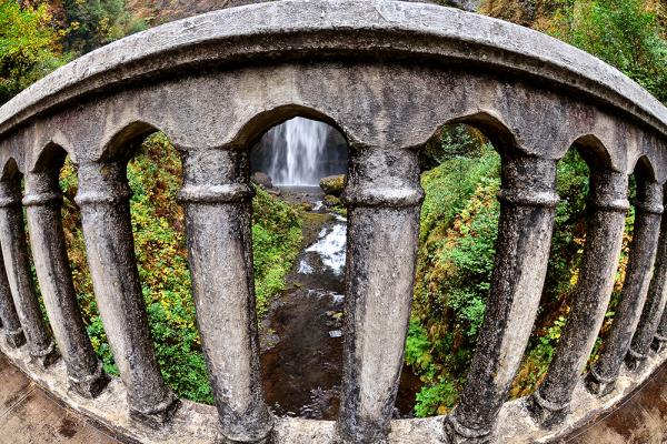 View of Multnomah Falls from Benson Bridge Oregon