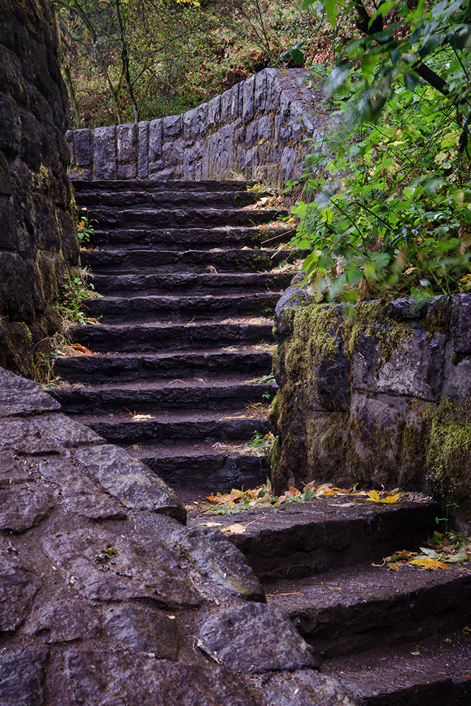 Stone staircase at Horsetail Falls in the Gorge