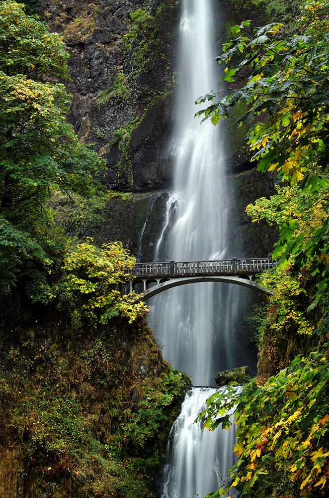 Multnomah Falls and Benson Bridge in the Fall