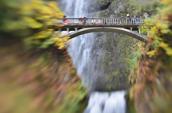 Benson Bridge at Multnomah Falls with a Lensbaby