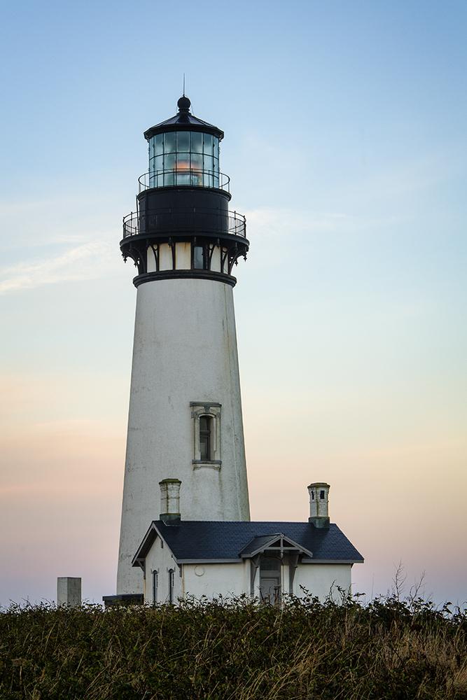 Yaquina Head Lighthouse at Sunrise on Oregon Coast