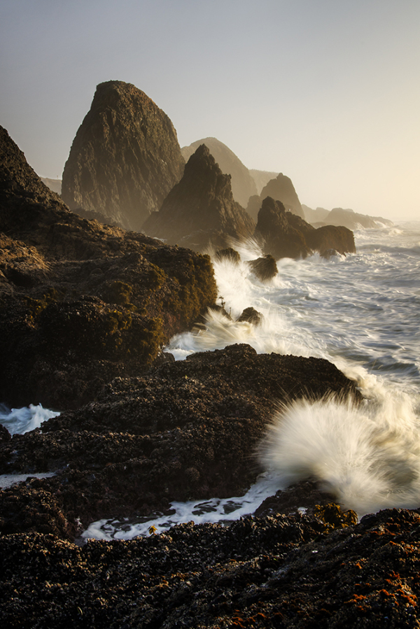 Waves crash against sea stacks at Seal Rock Oregon