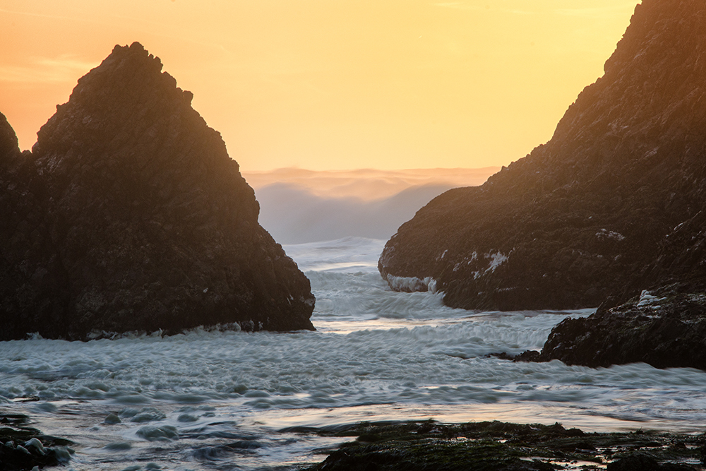 Waves play among Seal Rock sea stacks at sunset