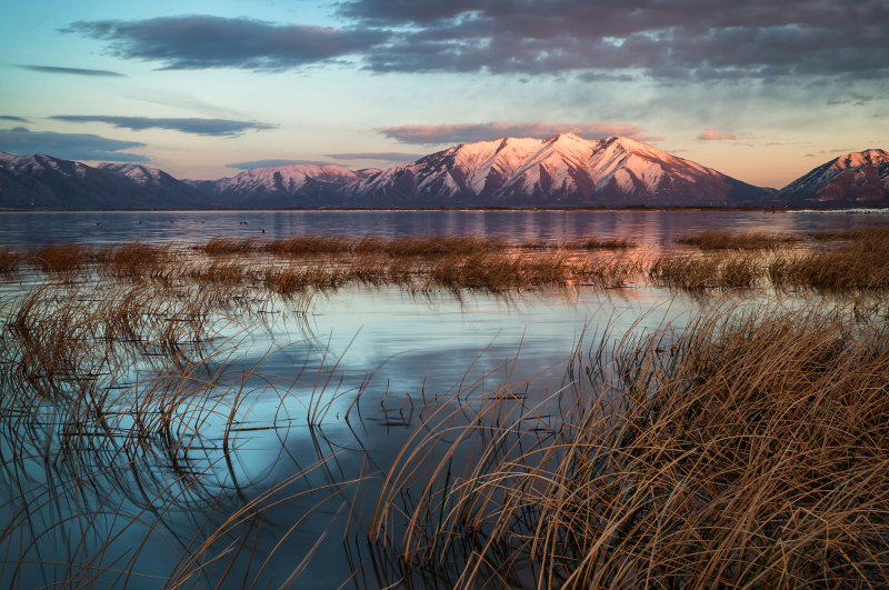 Sunset on Mountains from Lincoln Beach, Utah Lake