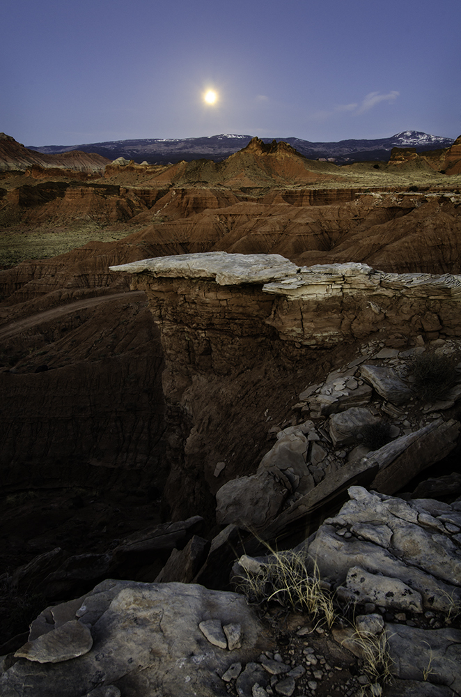 Full moon setting in Capitol Reef National Park