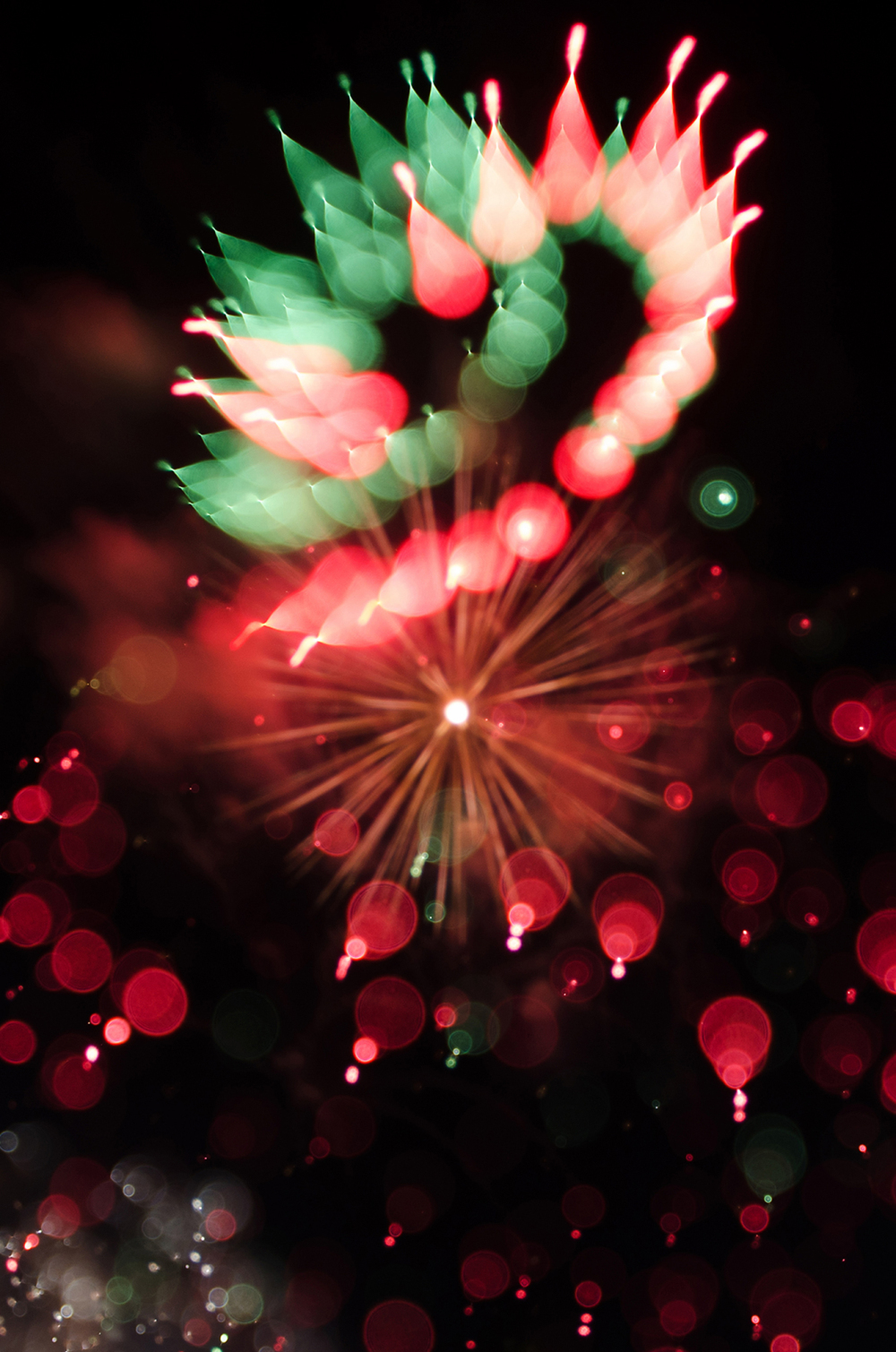 Abstract shot of fireworks on Independence Day