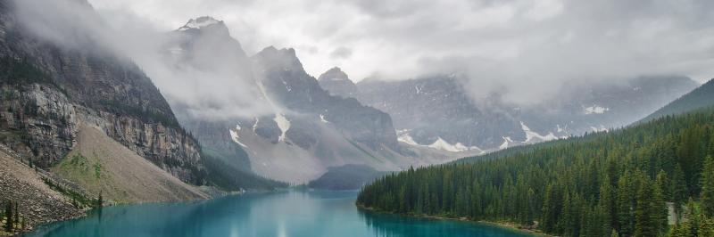 Moraine Lake in the Rain, Banff, Alberta, Canada