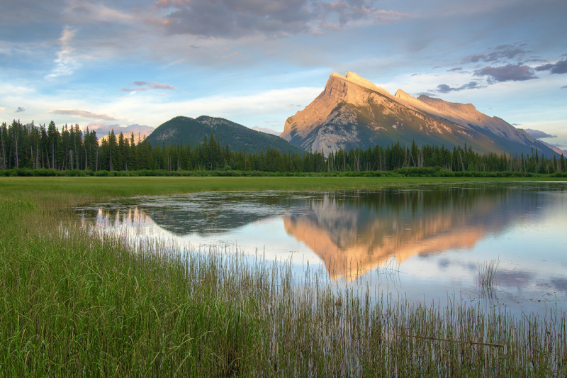 Mount Rundle Sunset from Vermillion Lakes in Banff