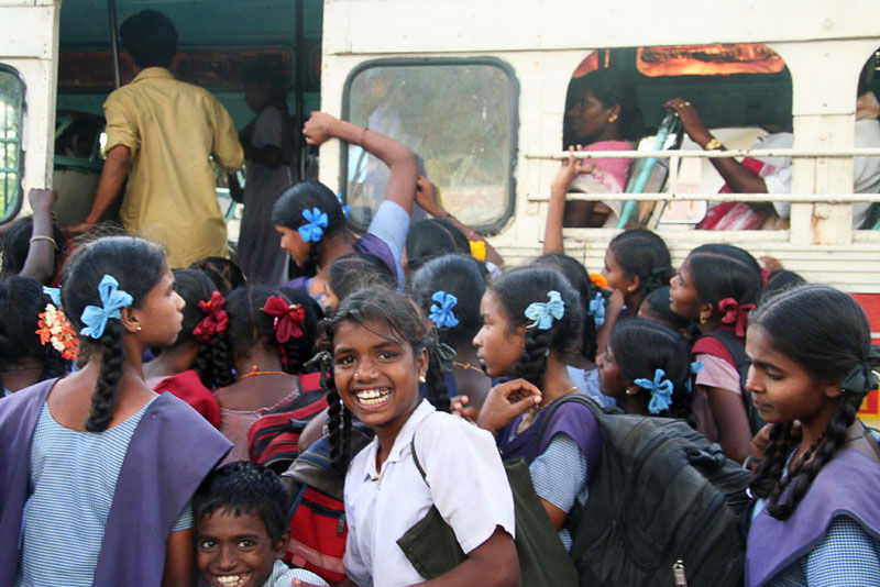 School girls climbing in a bus south India