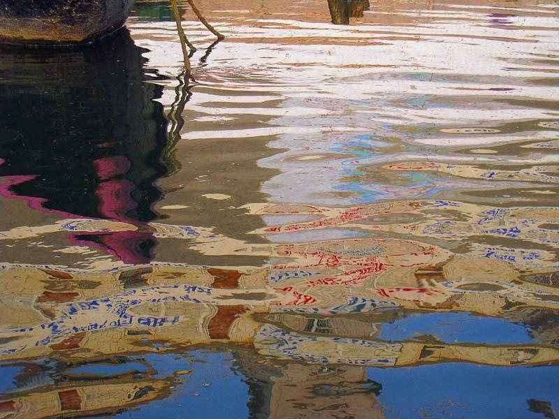 refelction of words in water, Ganga Varanasi India