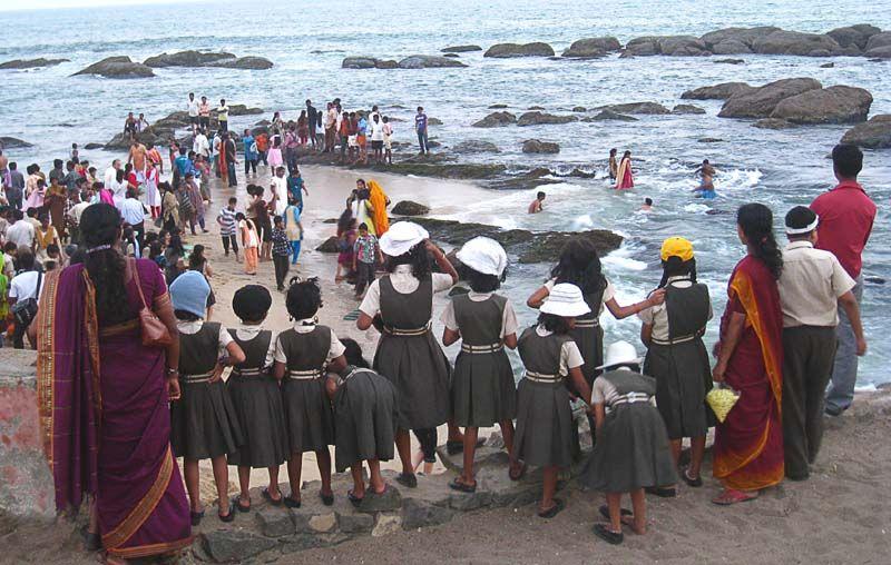 India  sunset  Cap Comorin  kanya kumari   pupils