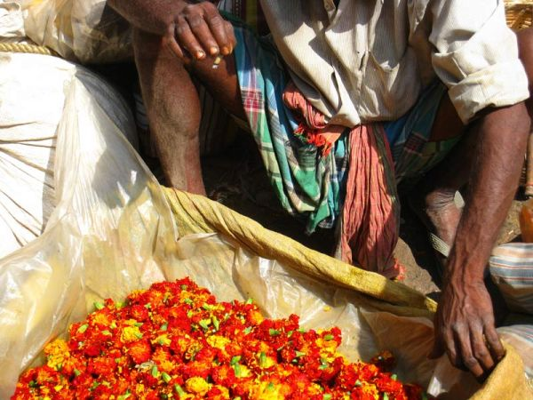 Inde Marché aux  fleurs Calcutta