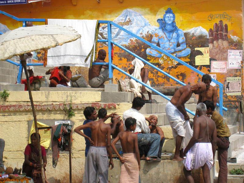 India  varanassi barbers ganga shiva