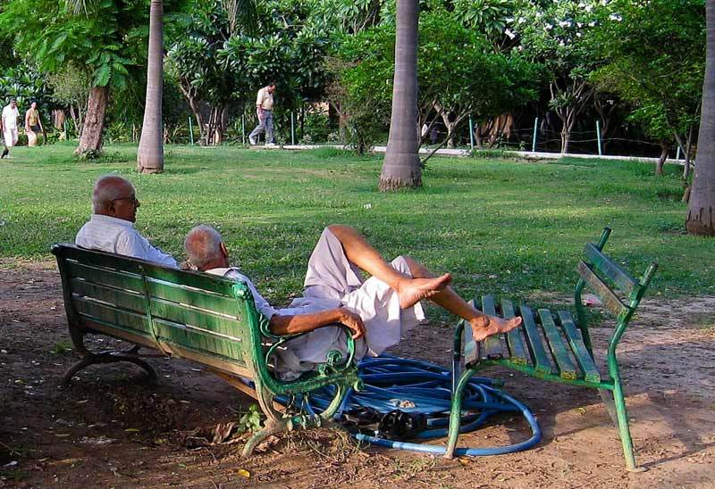 2 men on a bench