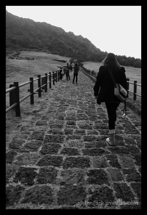 seongsan ilchubong, jeju island, korea, uphill