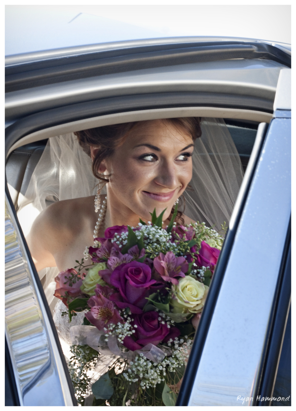 Bride in departing limo