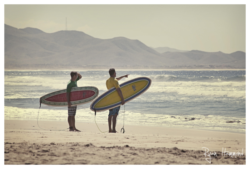 Two friends assess the waves before surfing