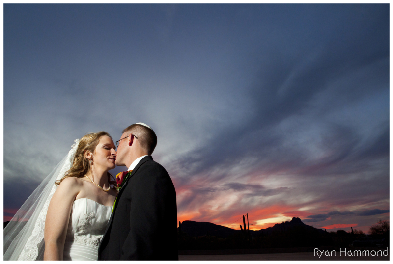 Wedding Portrait in front of a Tucson Sunset