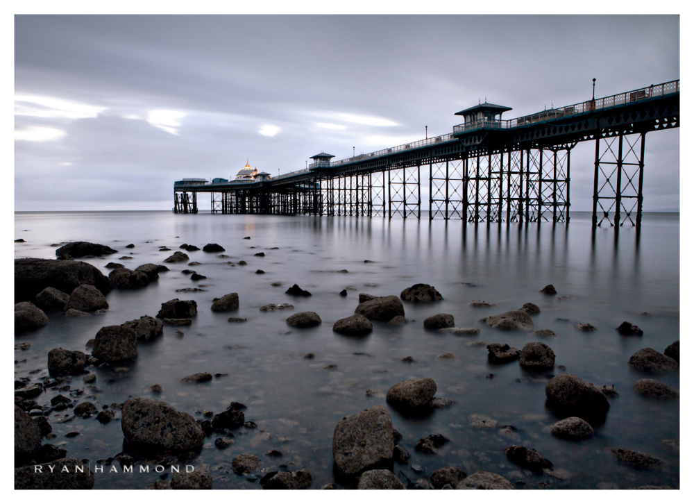 Pier, rainy, Wales, coast, rocky, water, landscape