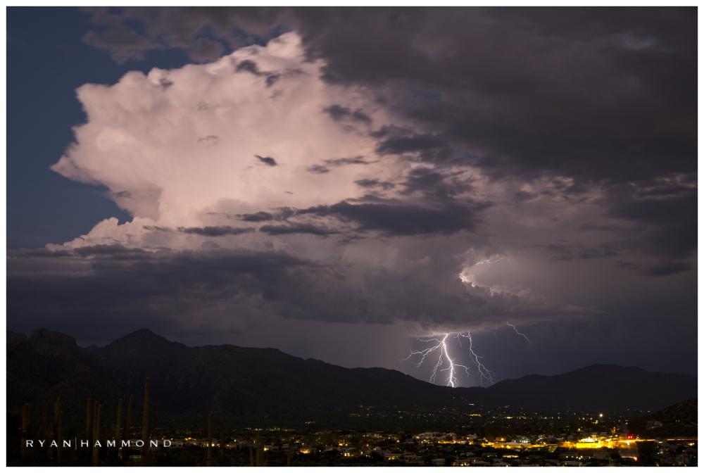 Thunderhead, lightning, storm, monsoon, arizona
