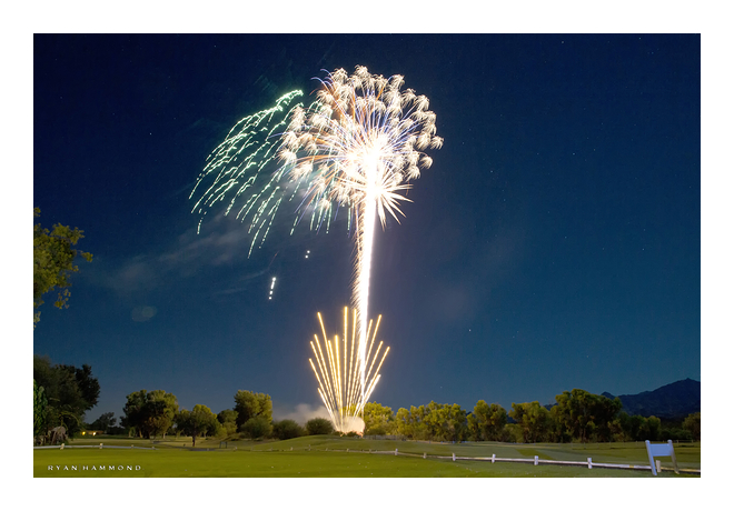 Tubac Resort fireworks blue sky long exposure