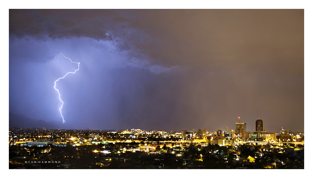 Monsoon lightning storm moving over Tucson Arizona