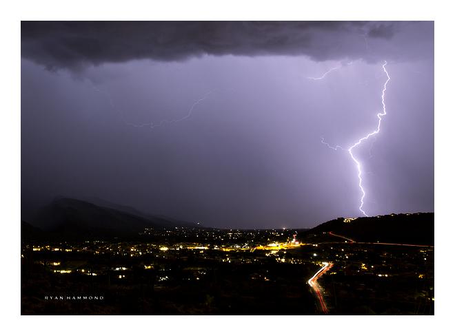 monsoon lightning storm moving over Tucson Arizona