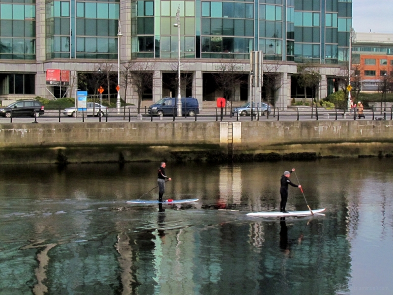 Two men on the river Liffey