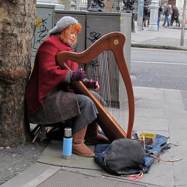 A harpist in Dublin