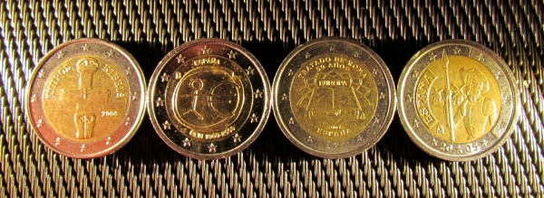 two euro coins
