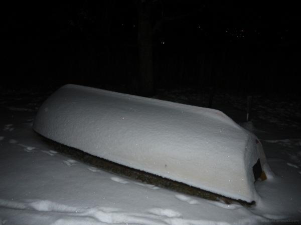 boat under snow