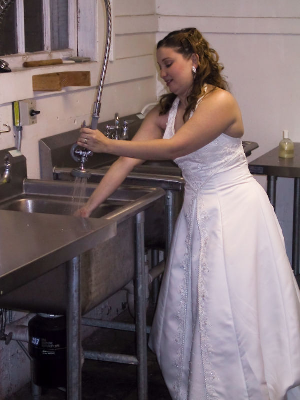 Mari cleans up after her wedding