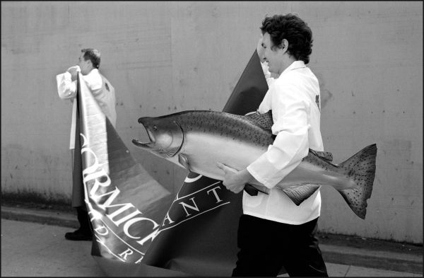 A chef heads home with fish