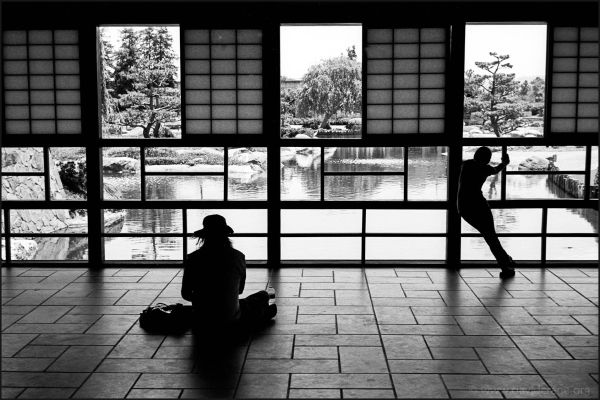Patrons enjoy the view from a teahouse