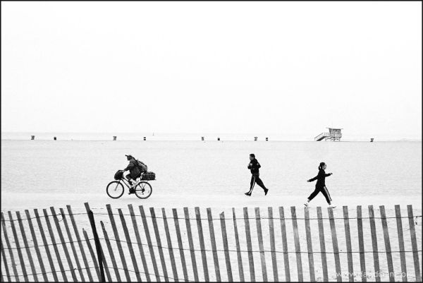 joggers on the beach