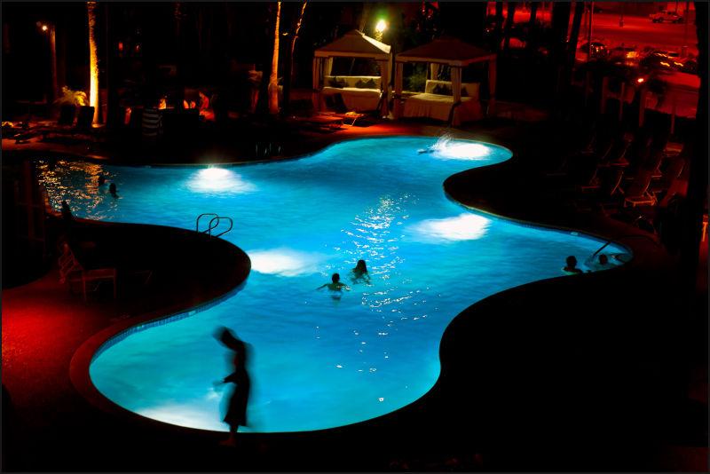 a pool at night