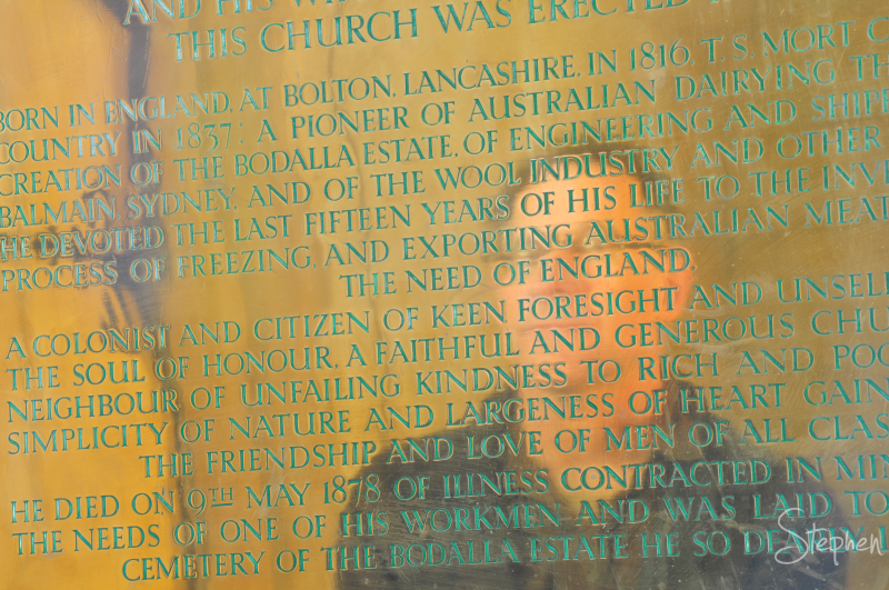 Memorial tablet at All Saints church in Bodalla