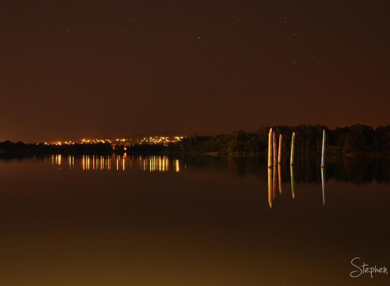 Night view of Lake Ginninderra