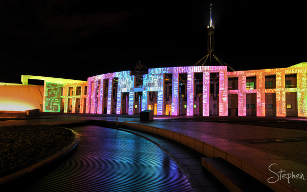 Enlighten Fesitval lights up Parliament House
