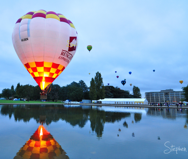 Balloons take off during the Canberra Festival