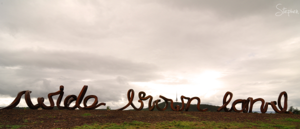 Wide Brown Land sculpture at National Arboretum
