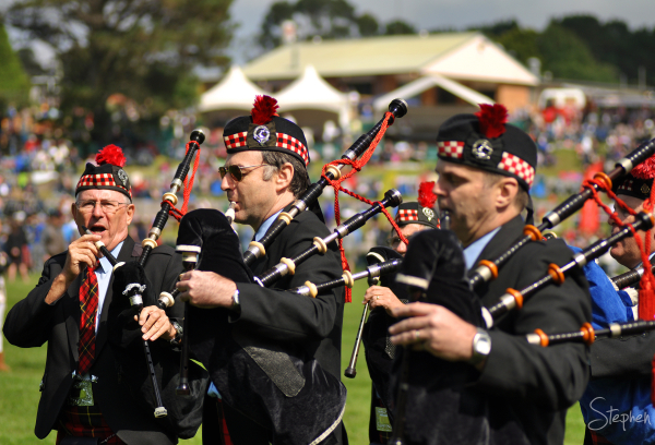 Pipe Band marching at Bundanoon Highland Gathering