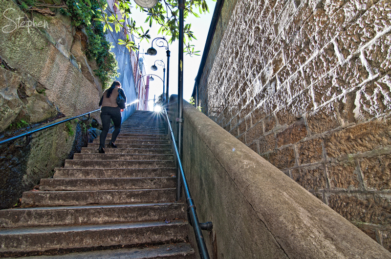 Argyle Stairs in The Rocks quarter of old Sydney