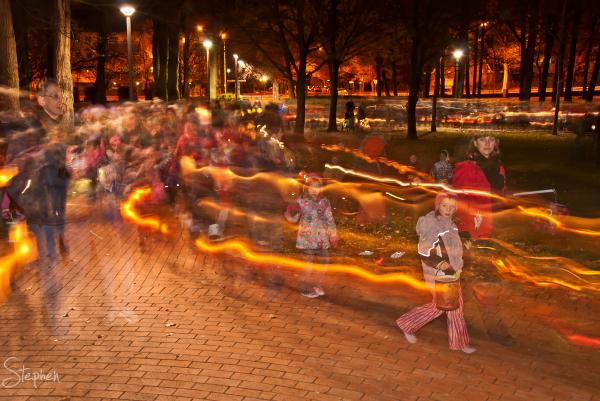 Traditional German lantern walk