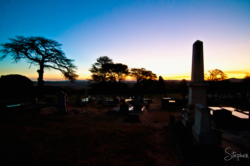 The Yass Cemetery at sunset