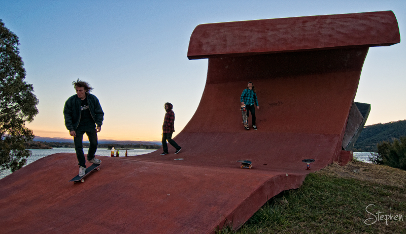 Outdoor artwork becomes a skateboard ramp
